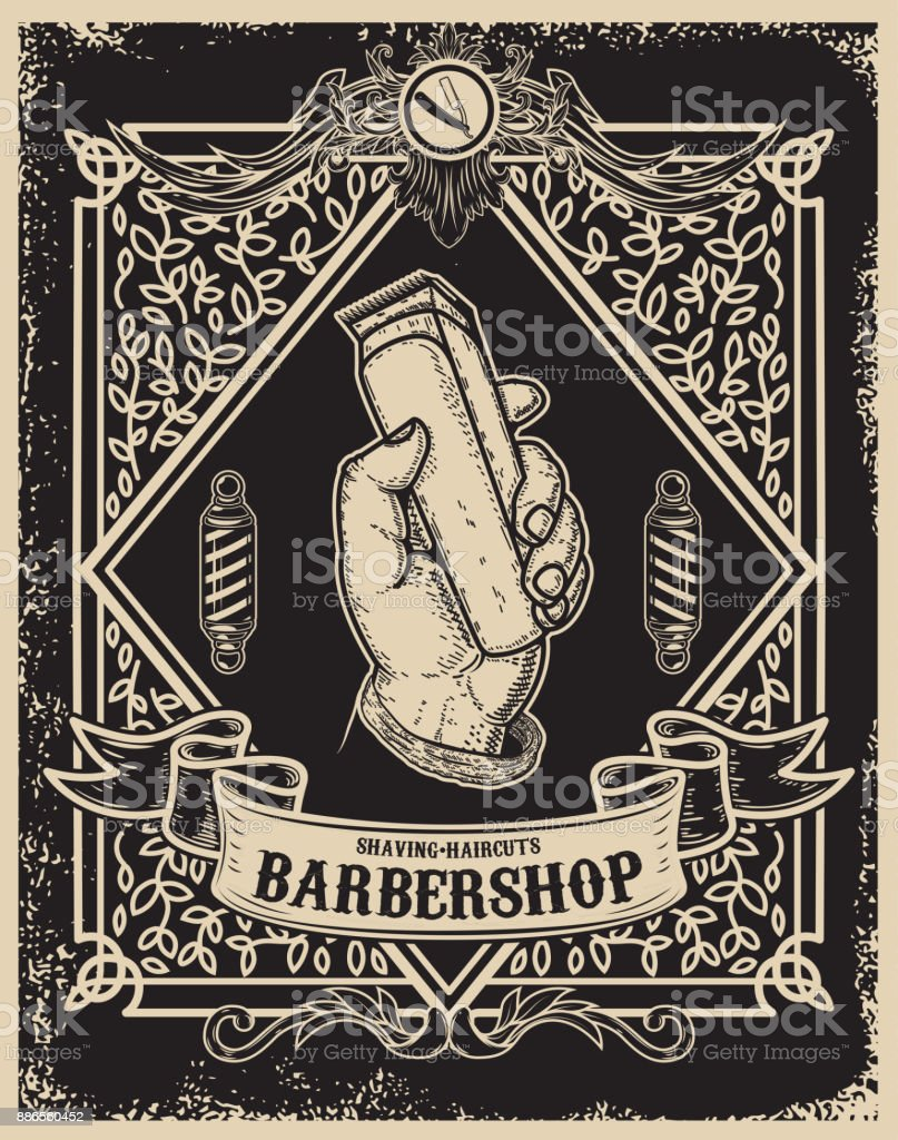 barber poster template human