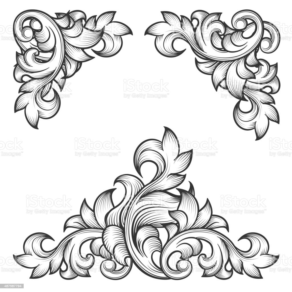 Baroque Leaf Frame Swirl Decorative Design Element Stock