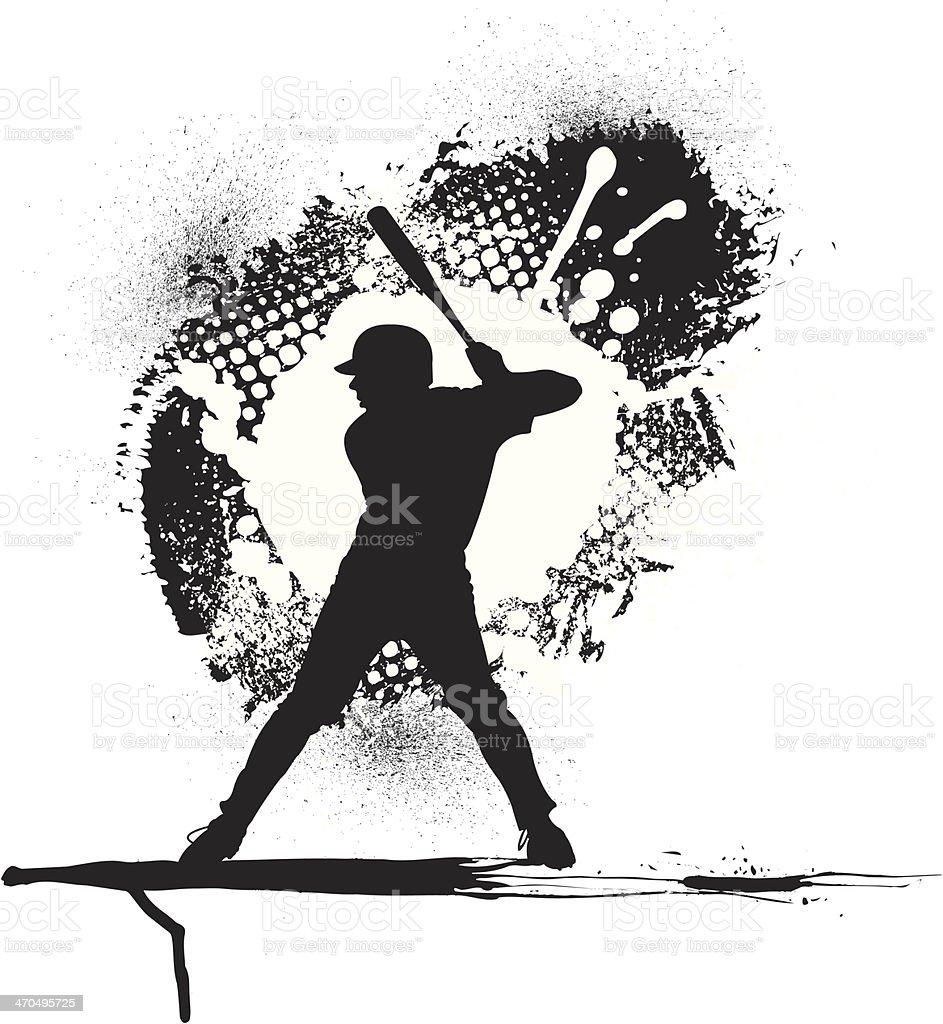 Baseball Batter Grunge Graphic Background Stock Vector Art