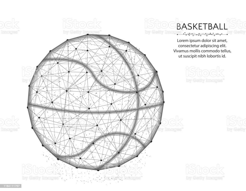 Basketball Low Poly Design Sport Game Abstract Graphics