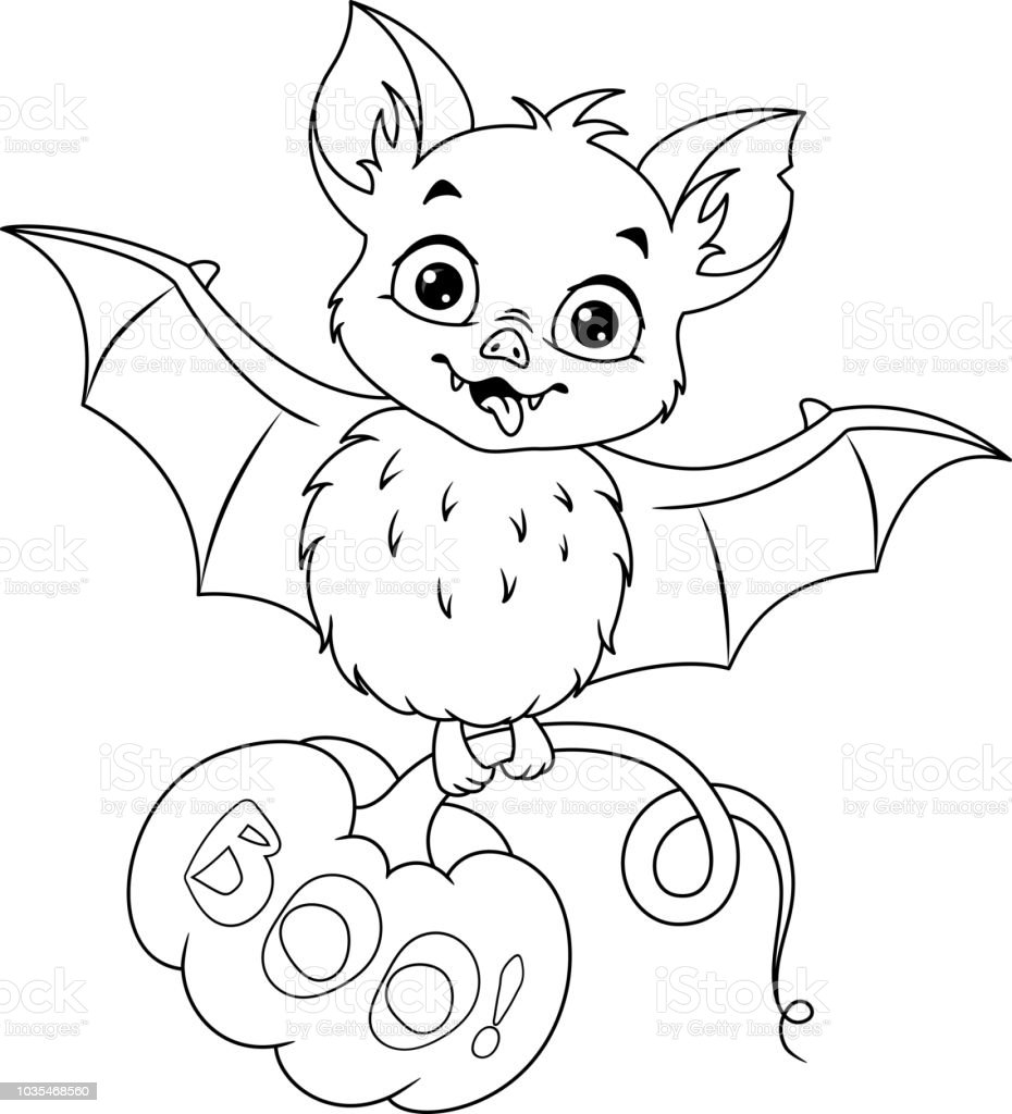 Bat For Halloween Coloring Page Stock Illustration