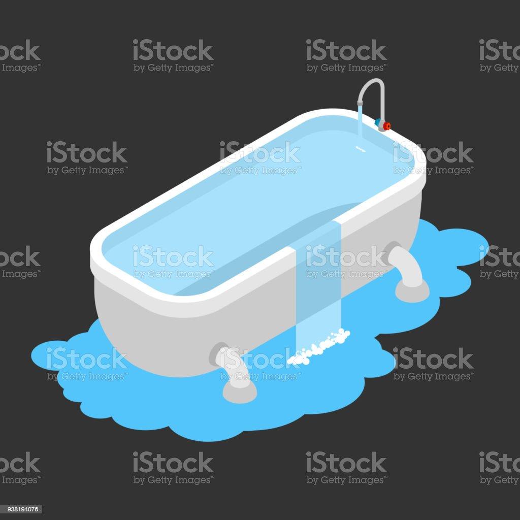 Badewanne Verstopft Leckage Kanalisierung Wasser Auf Dem Boden