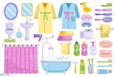 Bathroom Cartoon Elements Personal Hygiene Stock Illustration Download Image Now iStock