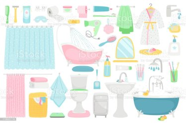 Bathroom Cartoon Furniture And Accessories Stock Illustration Download Image Now iStock