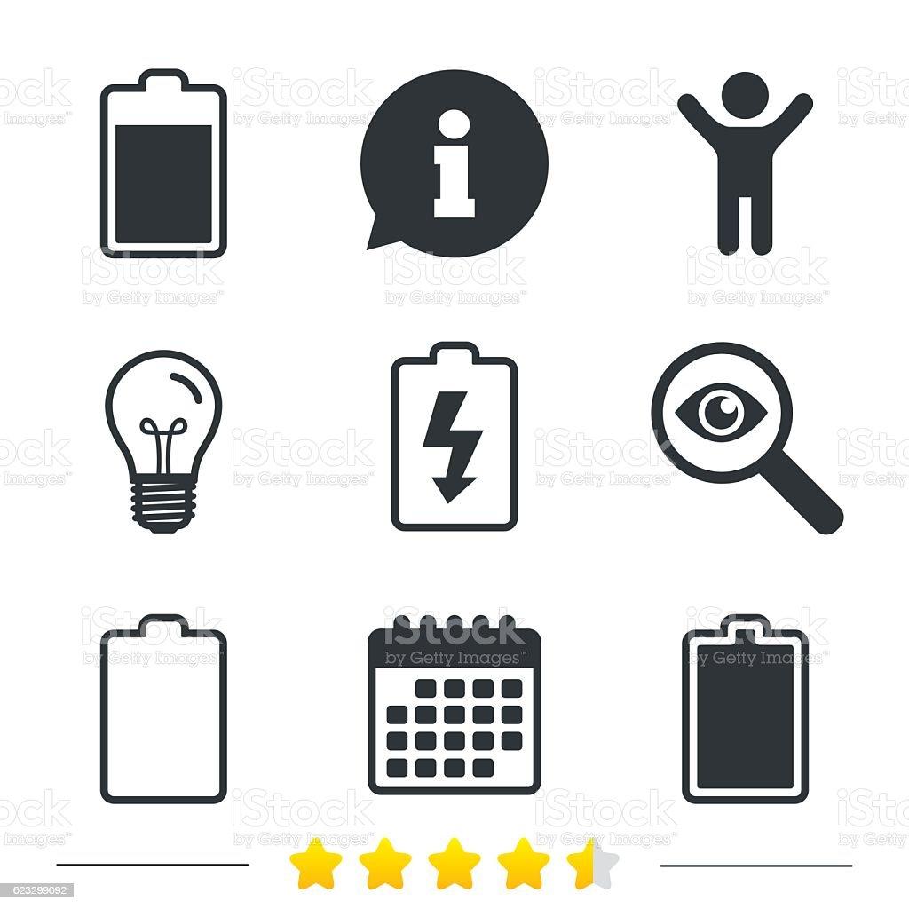 Iconos De Carga De Batería Símbolo De La Electricidad