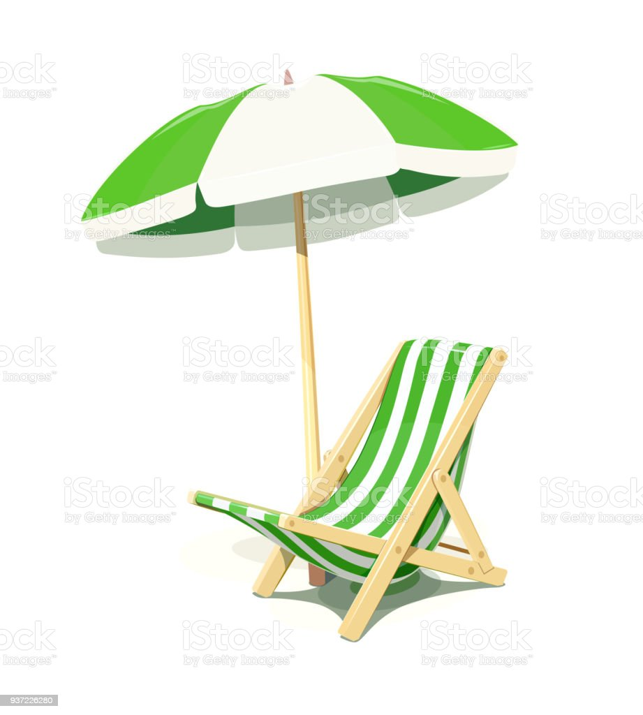 Chair With Umbrella Beach Chair And Umbrella For Summer Rest Stock Vector Art More
