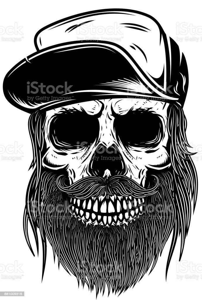 Bearded Skull In Baseball Cap Design Element For T Shirt