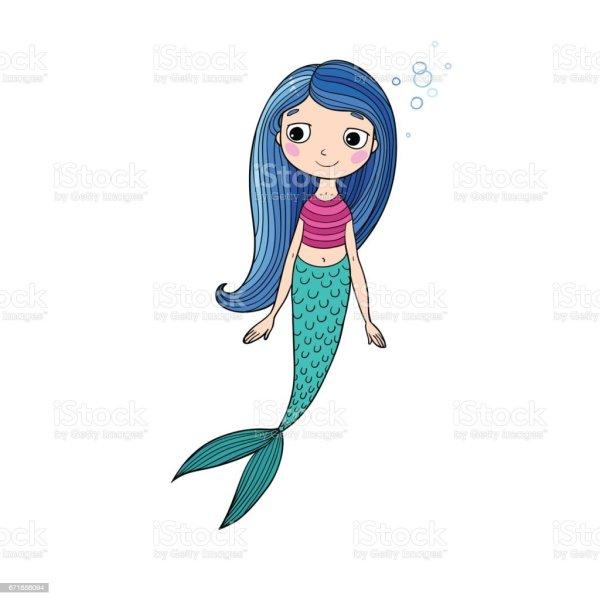 Beautiful Siren Mermaid Cartoon