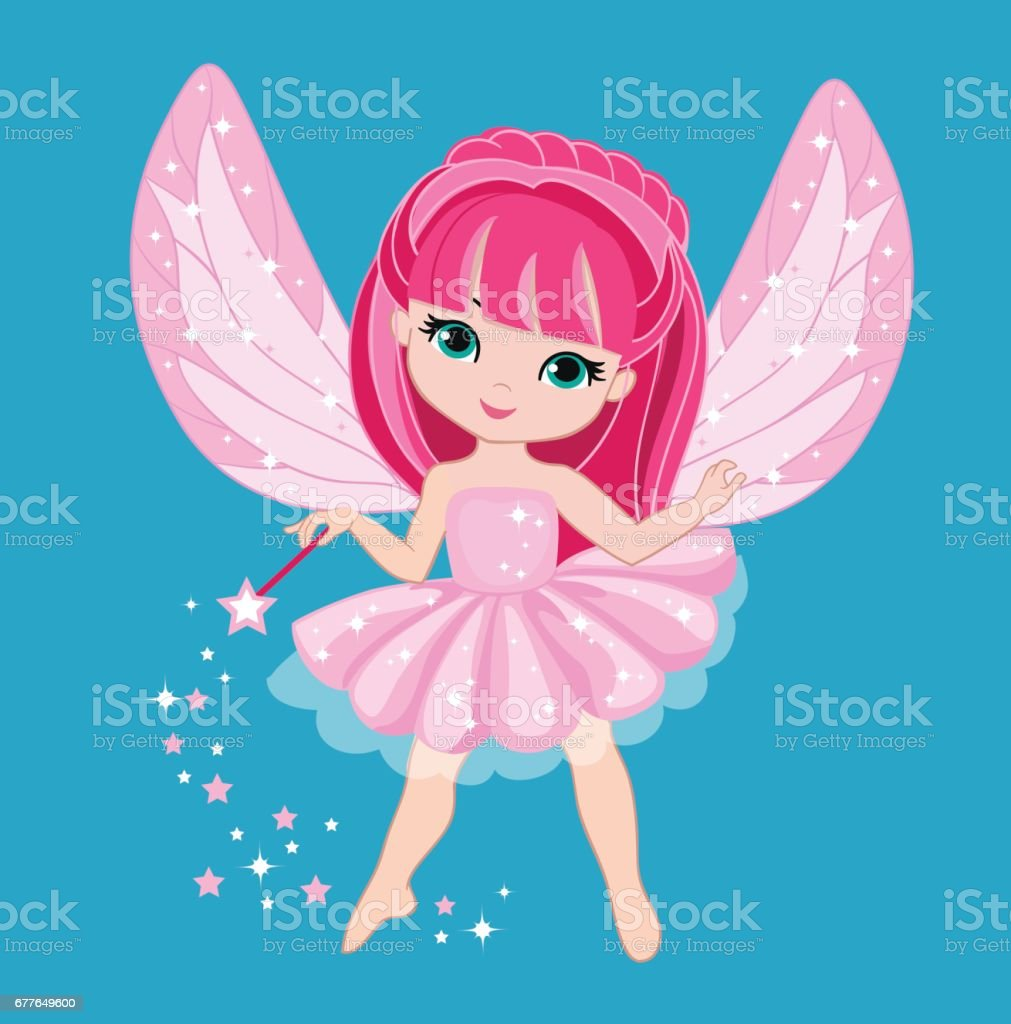 beautiful little fairy with pink
