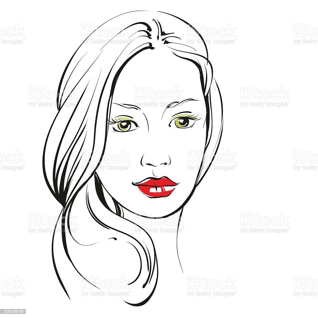 Mulher Linda Cara Desenhado à Mão Vetor Projeto Desenho