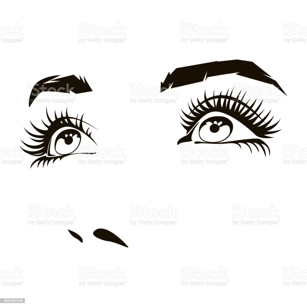 Beautiful Woman Face With Expressive Female Eyes Vector