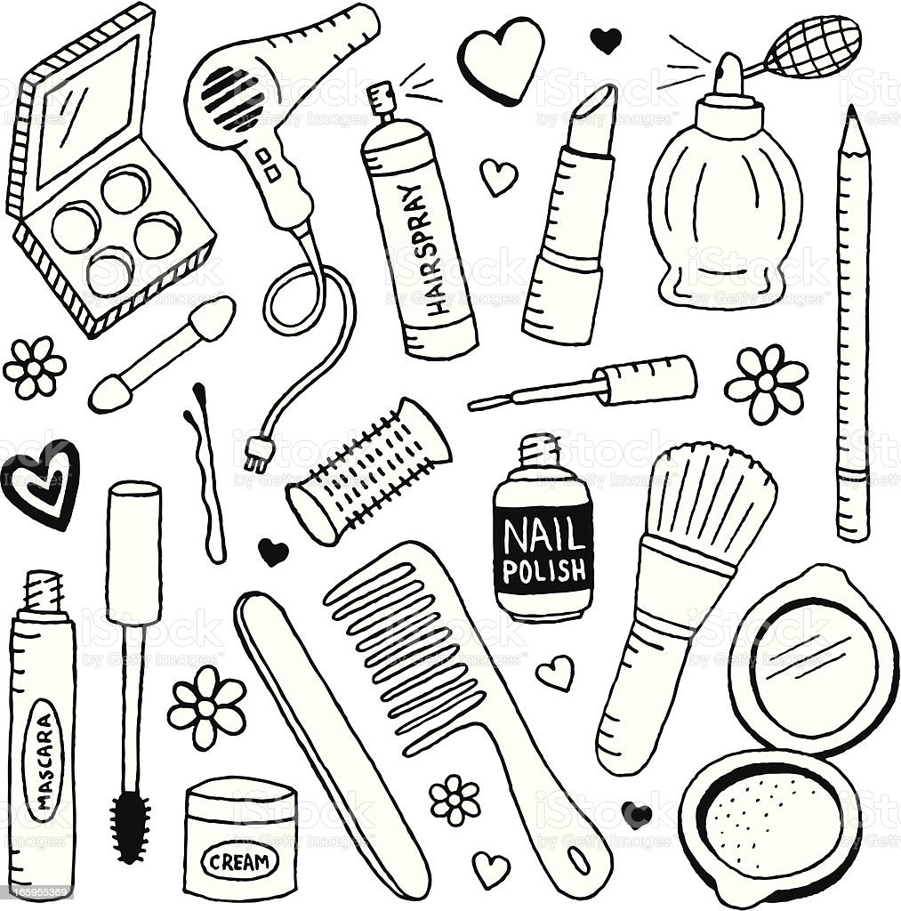 Beauty Doodles Stock Vector Art & More Images of Beauty