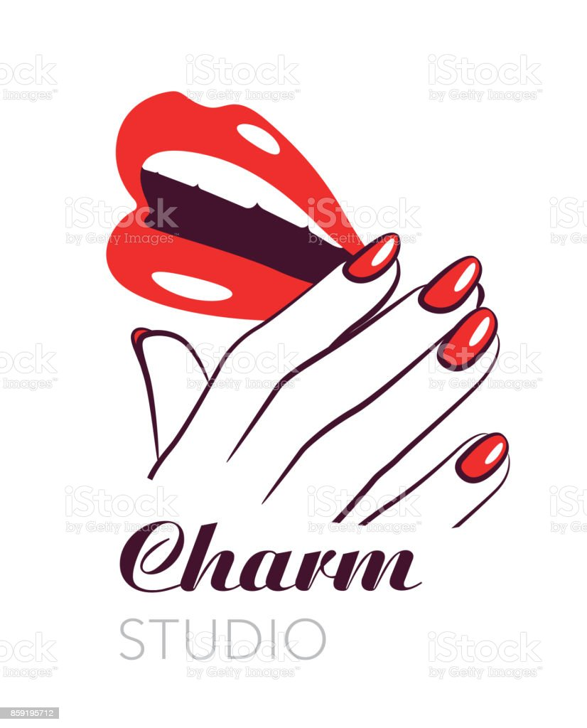 Beauty Salon Symbol Lips And Nails Vector Label Stock