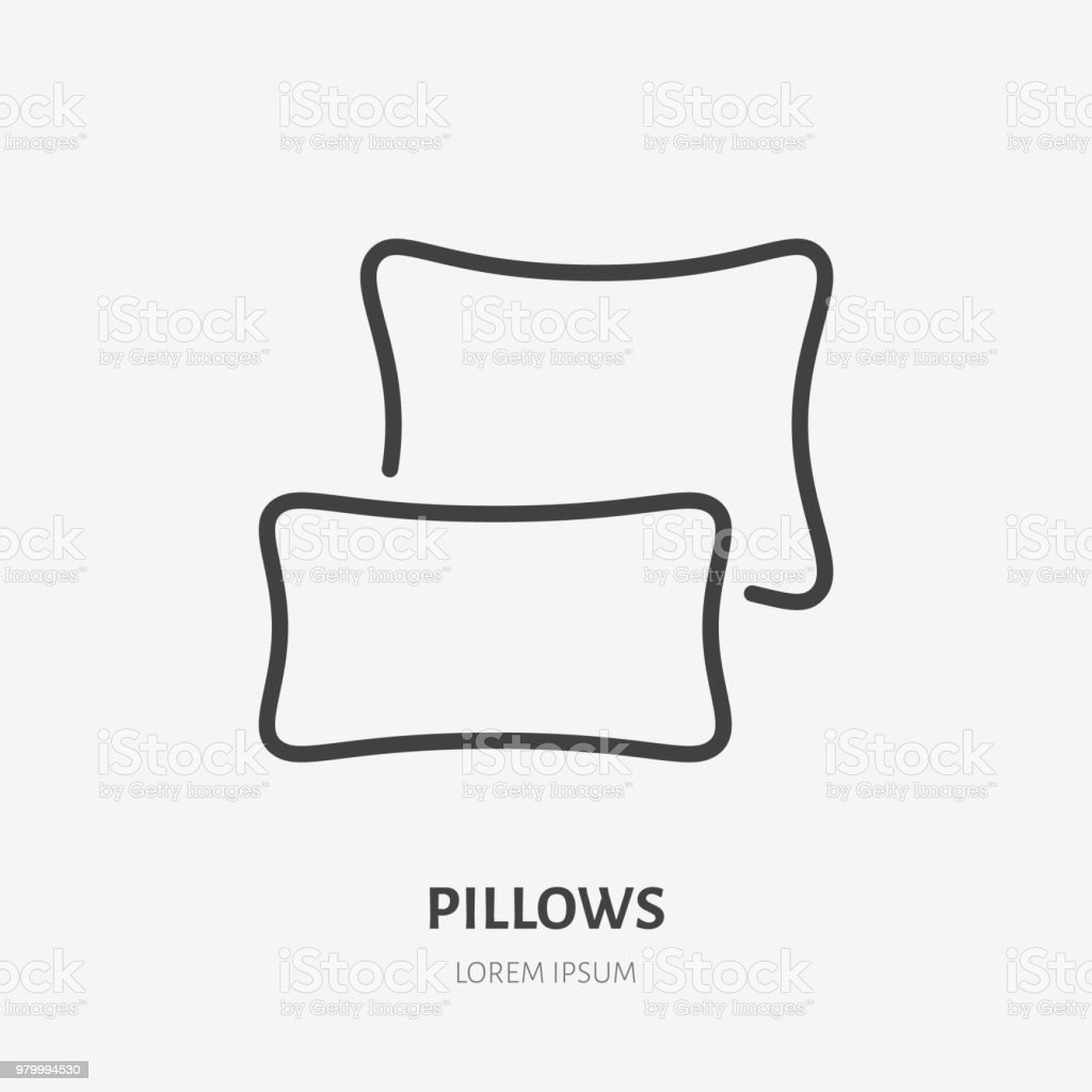 Bedding Bedroom Decorations Flat Line Icon Vector