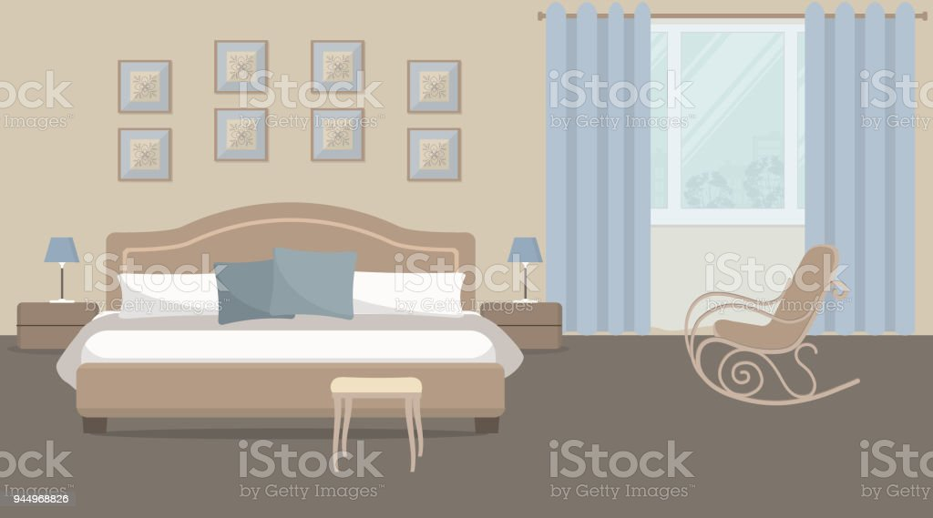bedroom rocking chair heavy duty office in a beige color with bed and stock vector royalty free