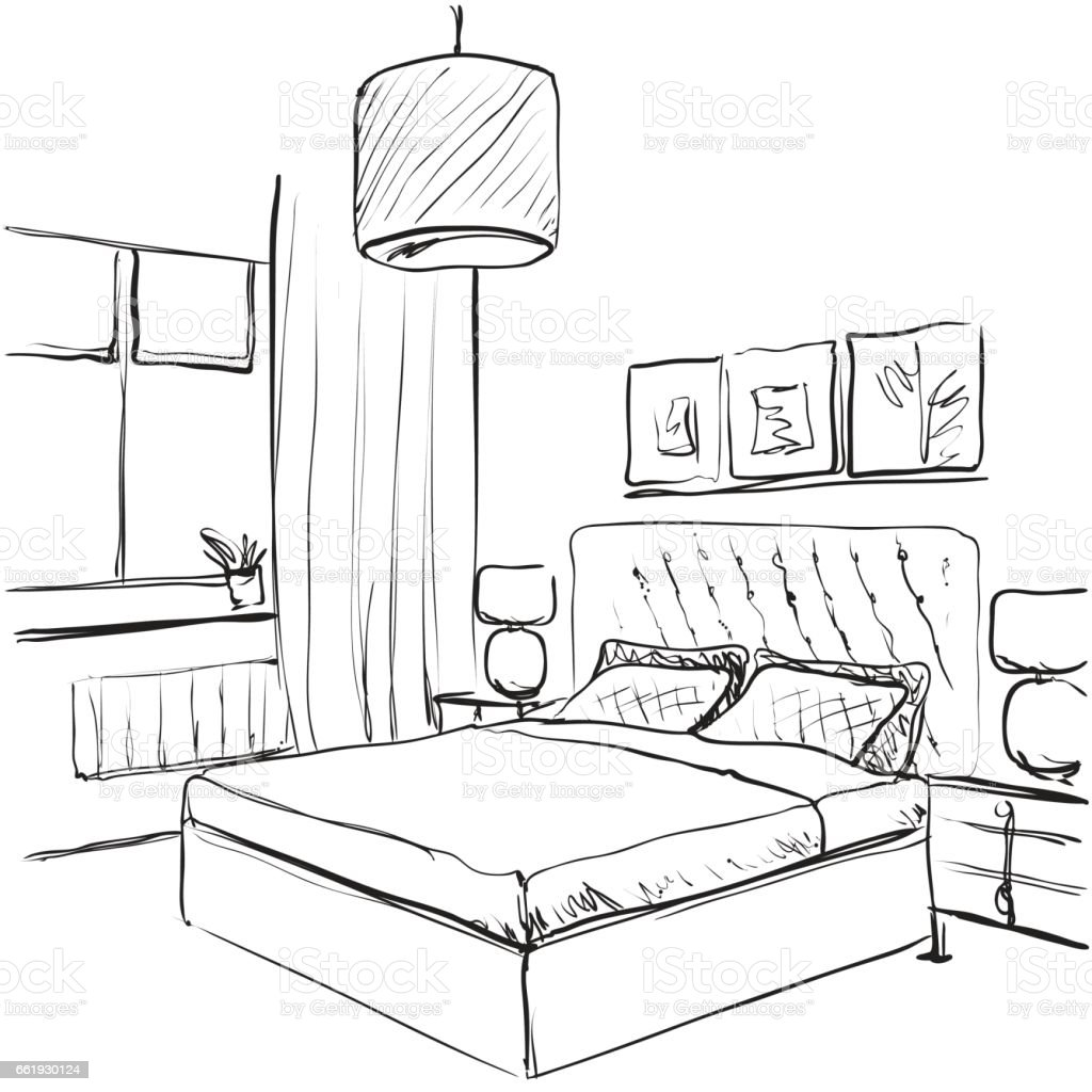 Bedroom Interior Sketch Hand Drawn Furniture Stock Vector