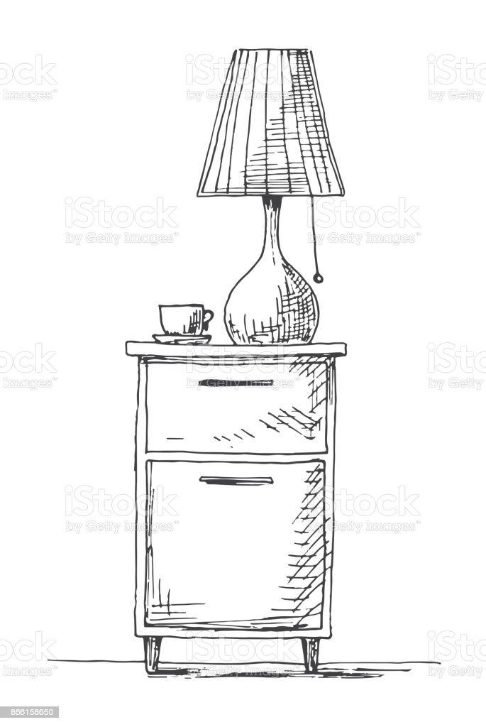 table de chevet avec une lampe illustration vectorielle dans le style de croquis vecteurs libres de droits et plus d images vectorielles de ameublement istock