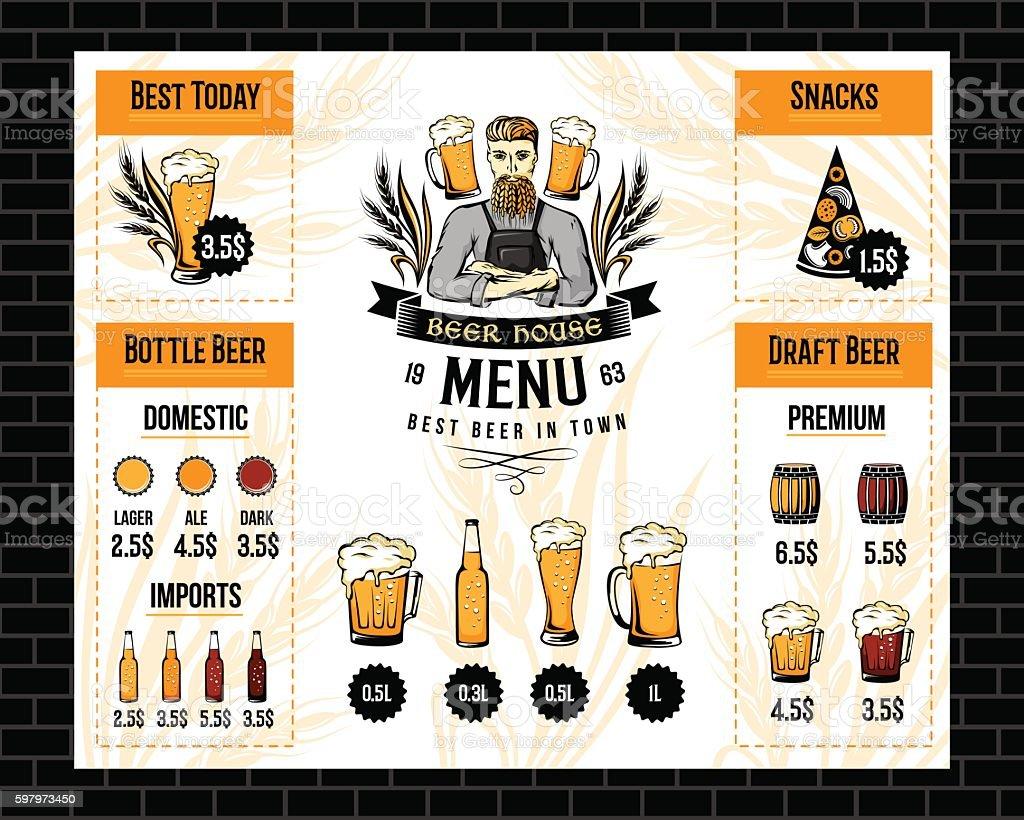 Beer Bar Menu Template Stock Vector Art & More Images of Alcohol ...