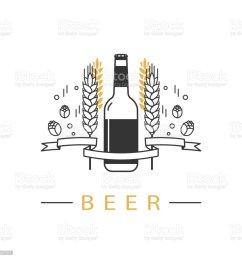 beer bottle hops wheat and ribbon linear icon sign design element symbol emblem label logo for brewery beer restaurant pub bar menu website  [ 1024 x 1024 Pixel ]