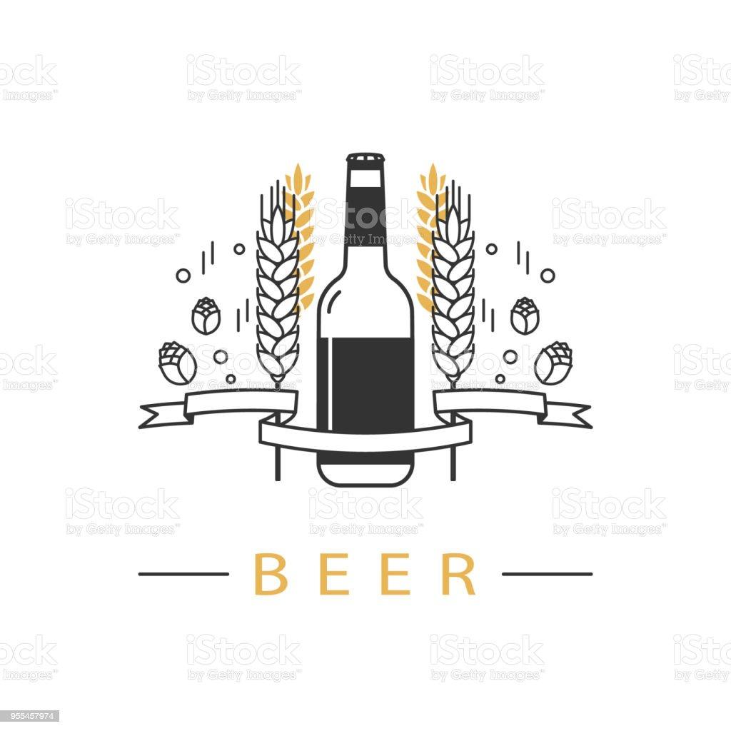 hight resolution of beer bottle hops wheat and ribbon linear icon sign design element symbol emblem label logo for brewery beer restaurant pub bar menu website