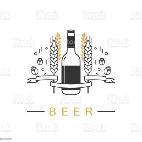 small resolution of beer bottle hops wheat and ribbon linear icon sign design element symbol emblem label logo for brewery beer restaurant pub bar menu website