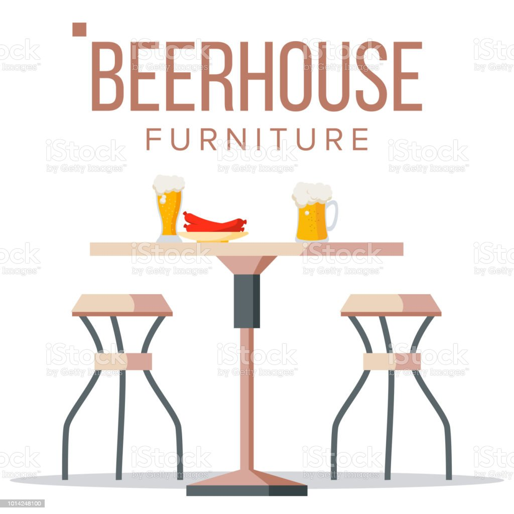 Decasa Muebles Beer House Furniture Vector Pub Beery Party Design Element Brewery