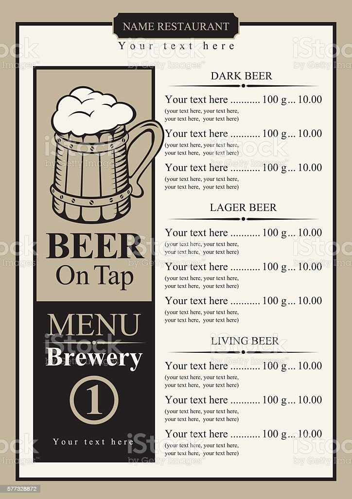 Beer Menu With Price List Stock Vector Art & More Images of Alcohol ...