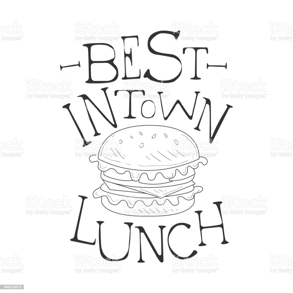 Best In Town Cafe Lunch Menu Promo Sign In Sketch Style