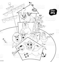 noah s ark with various animal pairs monkey bear giraffe  [ 1024 x 1024 Pixel ]