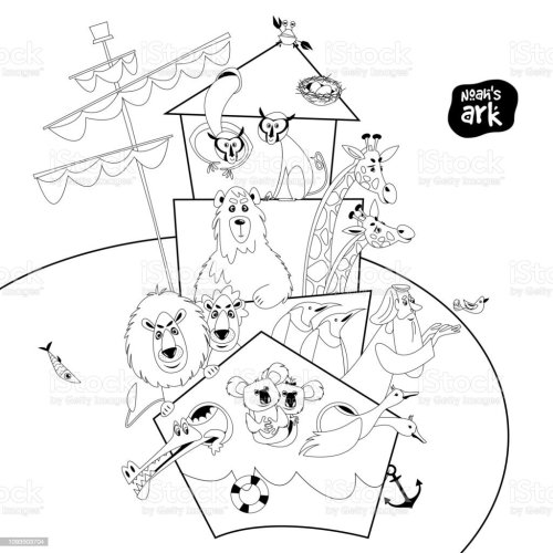 small resolution of noah s ark with various animal pairs monkey bear giraffe