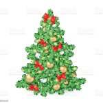Big Christmas Tree Decorated Ornaments And Ribbon Bows Stock Illustration Download Image Now Istock