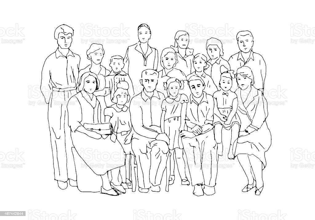 Big Family Photo Stock Vector Art & More Images of 2015