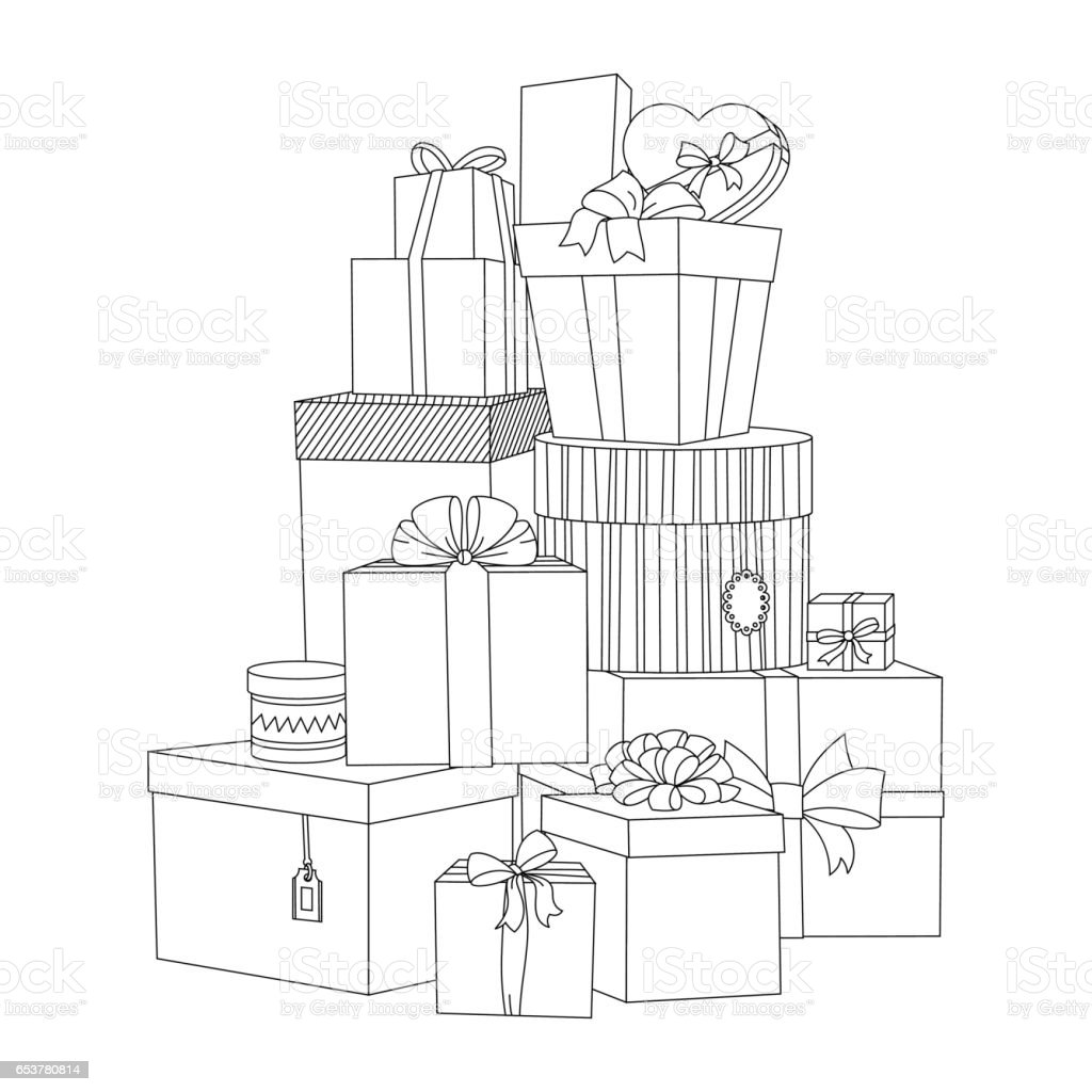 Big Pile Of Wrapped Gift Boxes Beautiful Box Gift Box