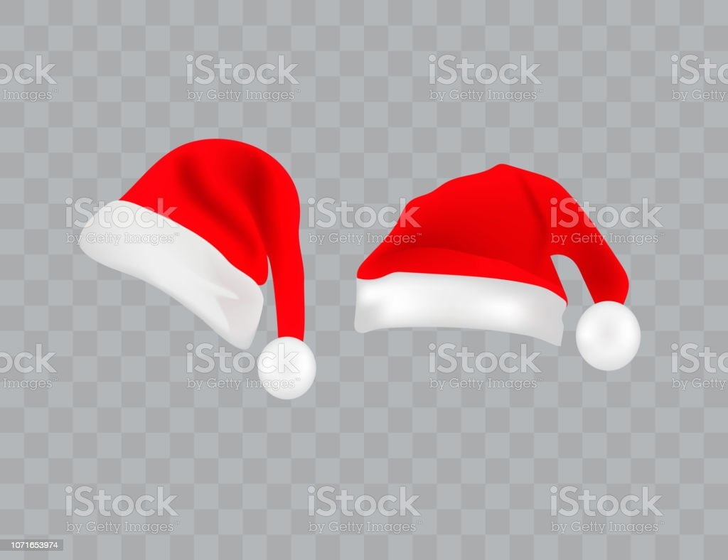 Big Set Of Realistic Santa Hats Isolated On Transparent