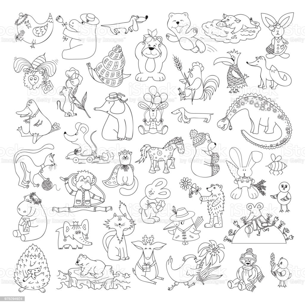 Big Vector Set Of Funny Wild Animals And Pets Coloring
