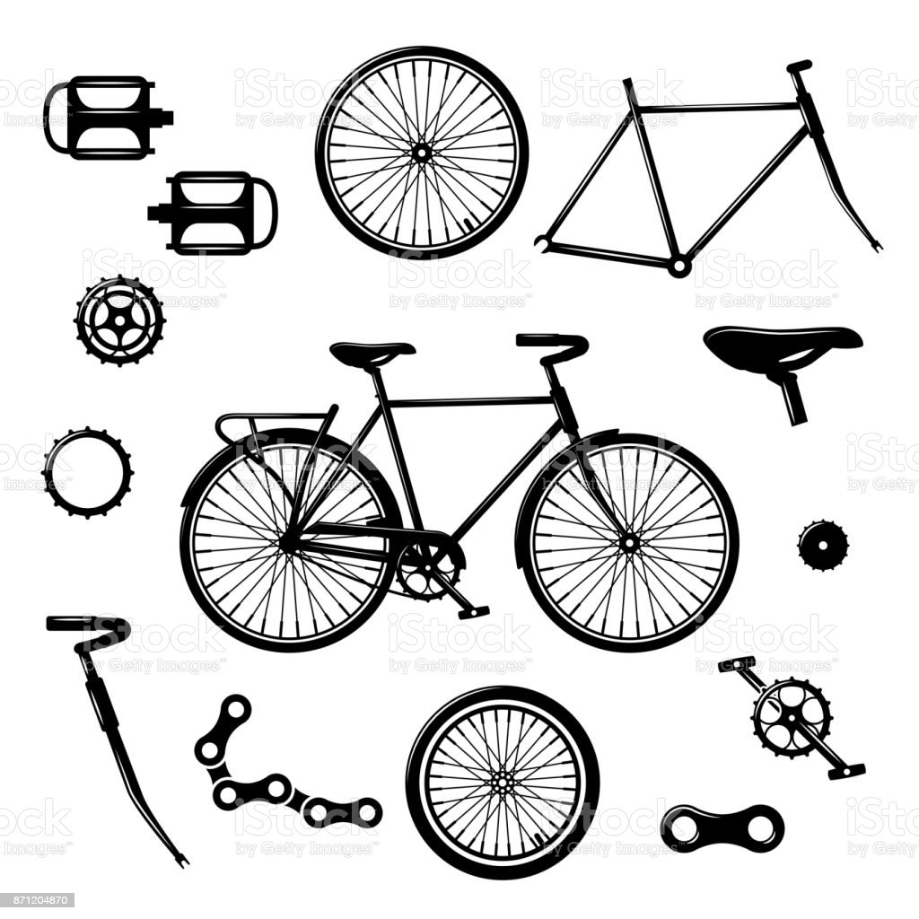 Bike Parts Bicycle Equipment And Components Isolated