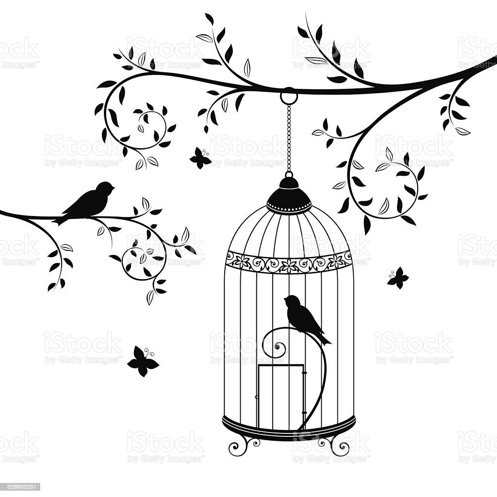 Birds In The Cage Stock Vector Art & More Images of Animal