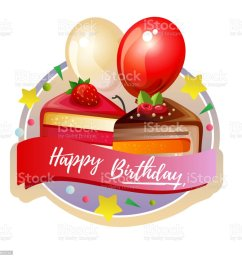 birthday cute slice cake label with balloon royalty free birthday cute slice cake label with [ 1024 x 1024 Pixel ]
