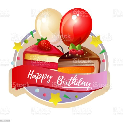 small resolution of birthday cute slice cake label with balloon royalty free birthday cute slice cake label with