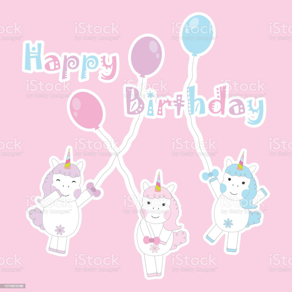 https www istockphoto com vector birthday day card with cute colorful unicorns bring balloons on pink background gm1070823288 286538629