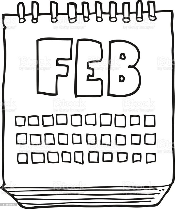 Black And White Cartoon Calendar Showing Month Of February