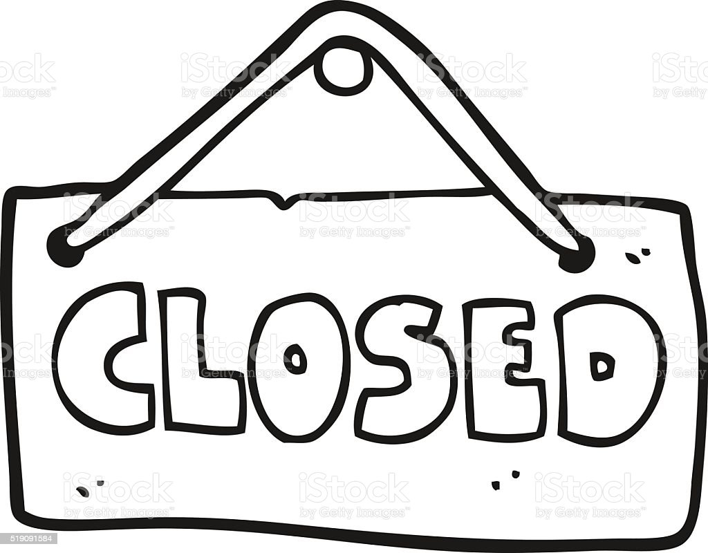Black And White Cartoon Closed Shop Sign Stock Vector Art