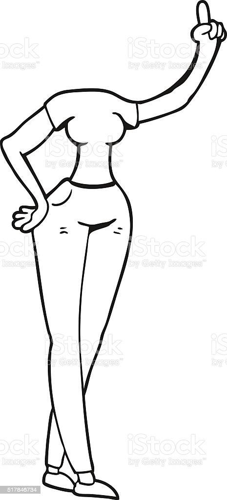 Preto E Branco Desenho De Um Corpo Feminino Com Mão