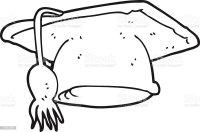 Bianco E Nero Fumetto Cappello Di Laurea