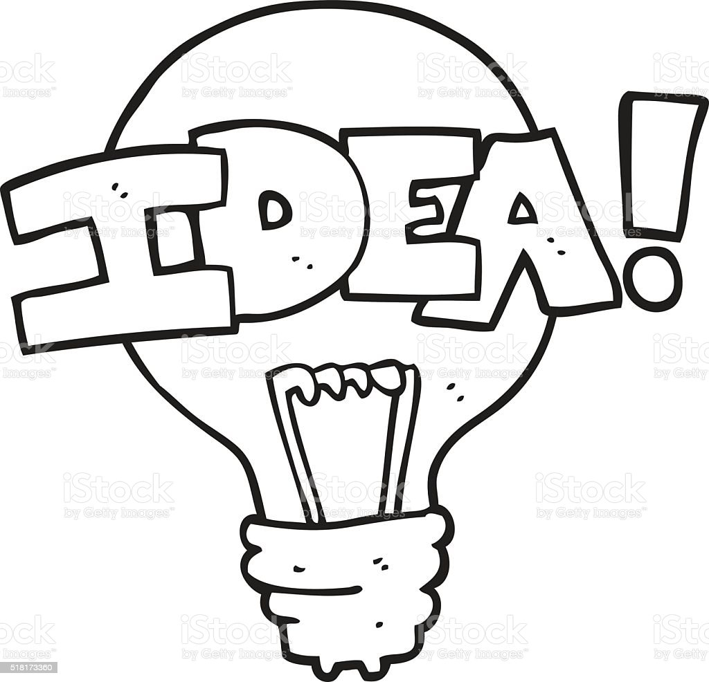 Black And White Cartoon Idea Light Bulb Symbol Stock