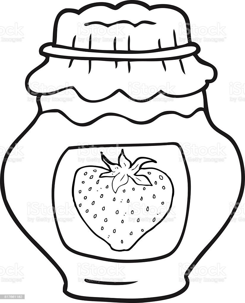 Black And White Cartoon Jar Of Strawberry Jam Stock Vector