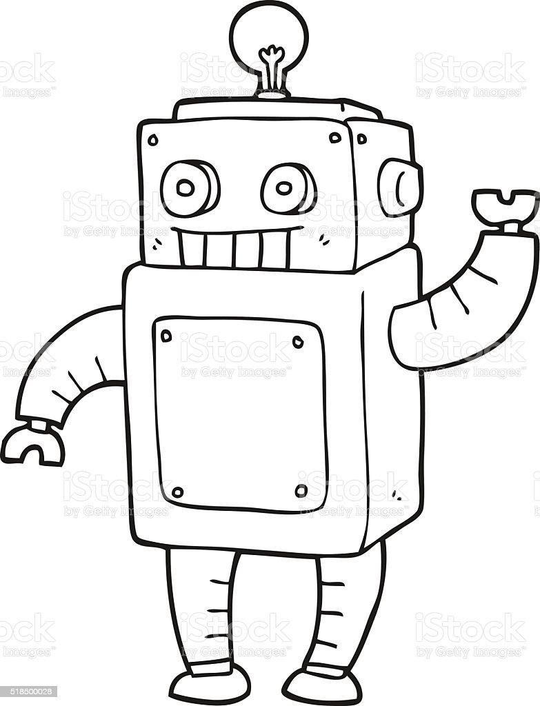 Schwarz Und Weiß Comic Roboter Stock Vektor Art und mehr