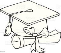 Bianco E Nero Cappello Di Laurea E Diploma