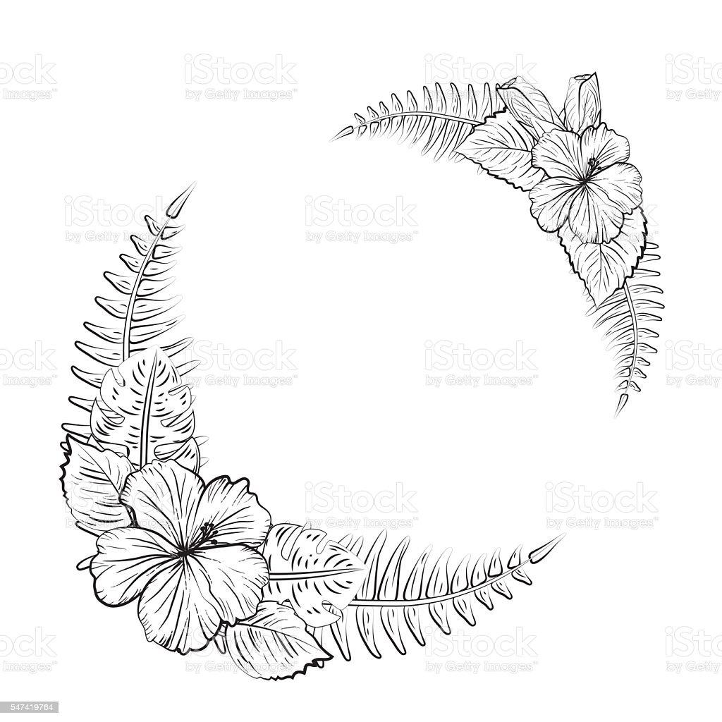 Schwarzwei Tropischen Hibiskus Blumenrahmen Vektor