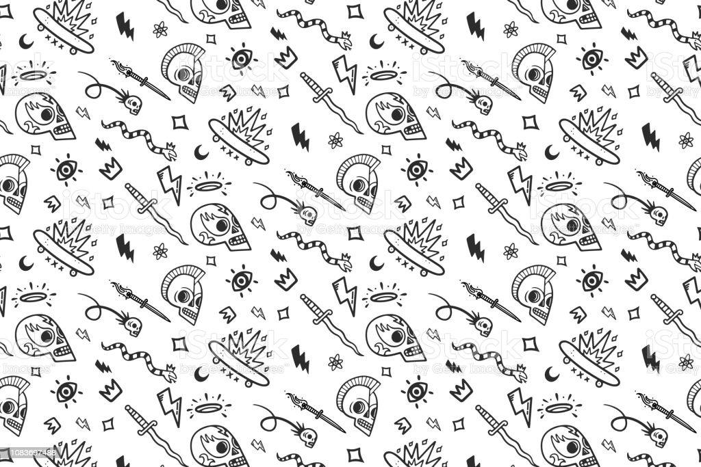 Ilustración De Patrón De Tatuajes De Vieja Escuela Blanco Y Negro